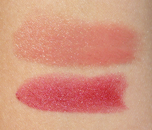 Swatch of Lancome lipstick L'Absolu Rouge Definition Le Sepia & Shine Love Twisted Beige