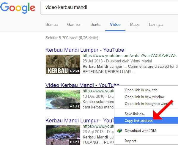 Melihat link video dengan cara copy link address lewat judul video youtube