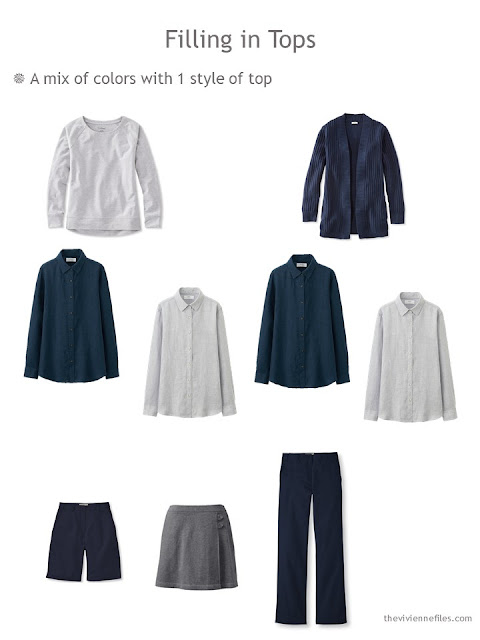 Building a set of Neutral Building Blocks in navy and grey with all the same style of shirt