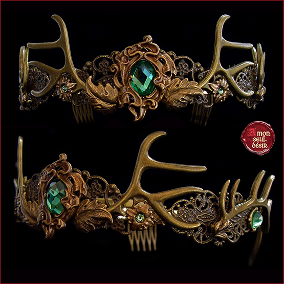 couronne de faune bronze médiéval bois de cerf baratheon crown woodland faun circlet forest queen