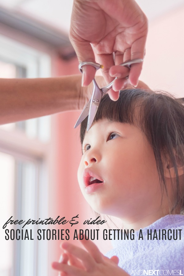 Free printable haircut social stories for kids including a video social story about getting a haircut