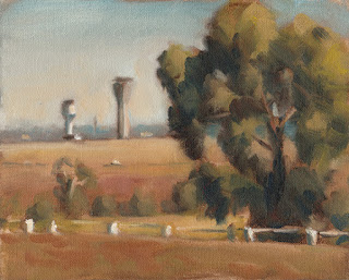 Landscape oil painting of a eucalypt beside open paddocks with distant control towers.