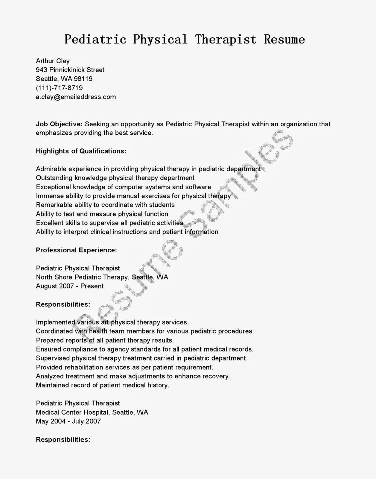 resume samples  pediatric physical therapist resume