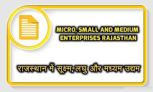Micro, Small and Medium enterprises in Rajasthan