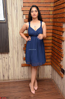 Radhika Mehrotra in a Deep neck Sleeveless Blue Dress at Mirchi Music Awards South 2017 ~  Exclusive Celebrities Galleries 078.jpg