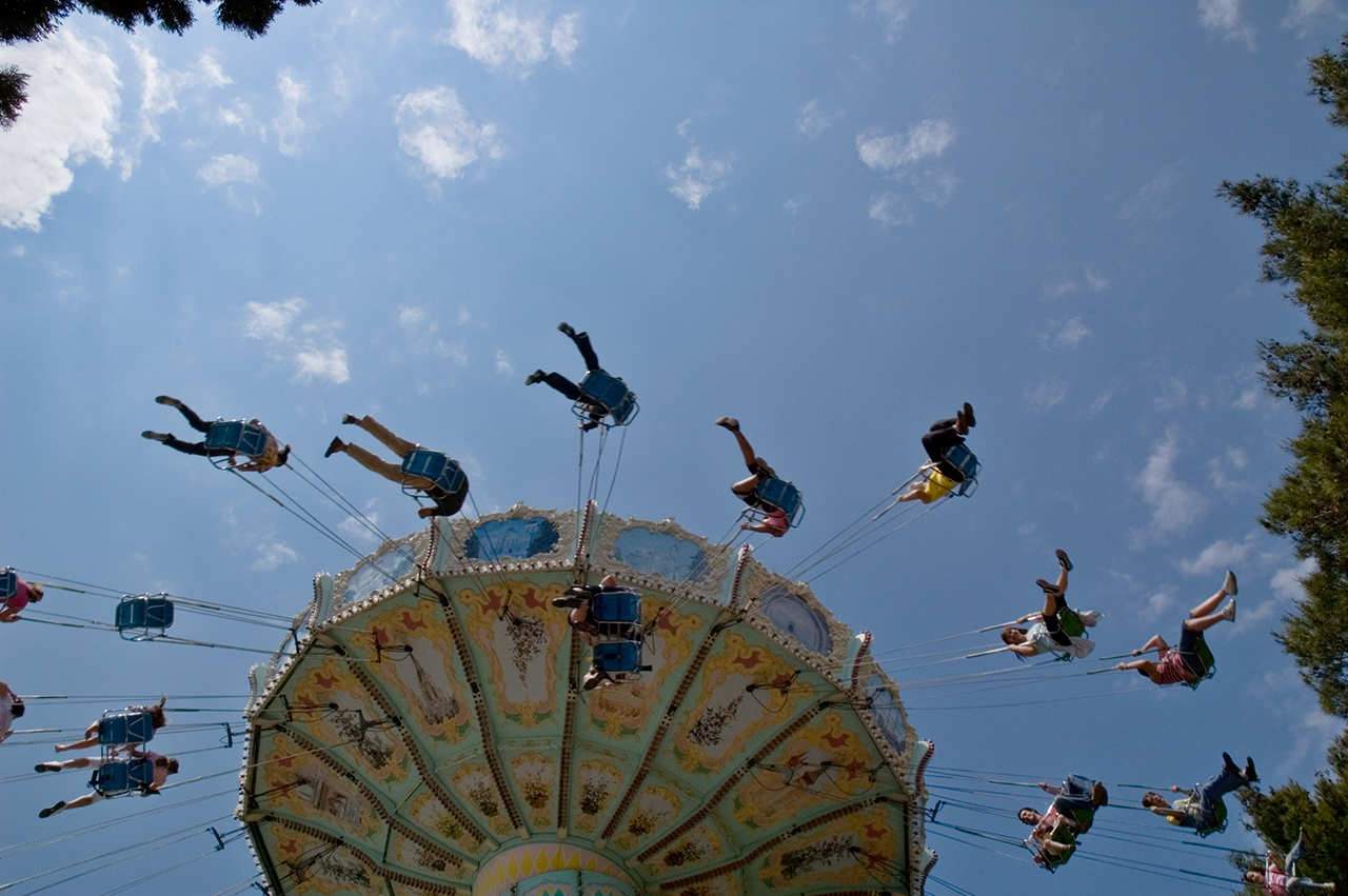 Flying chairs at Tibidabo Amusement Park