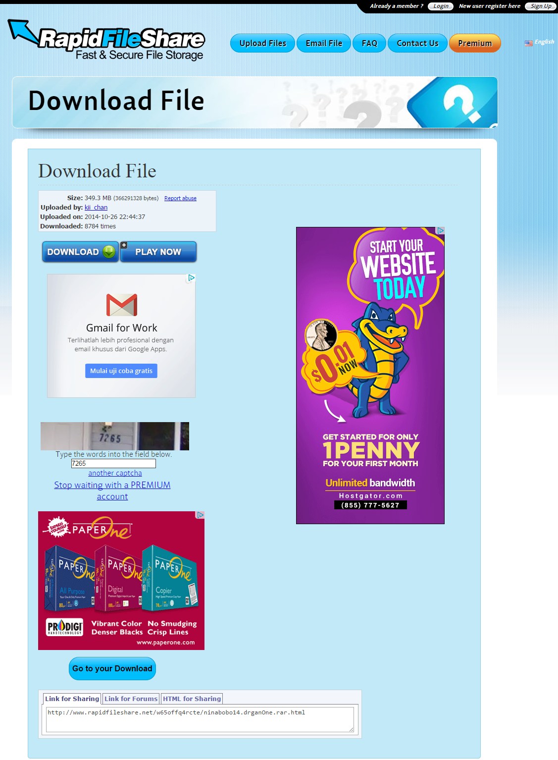 Cara download di FileRapitShare 2