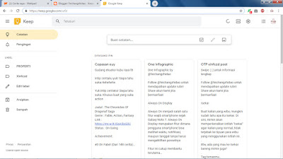 Tampilan Google Keep Desktop