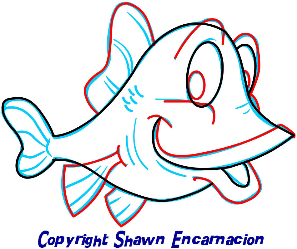It's just a picture of Mesmerizing Fish Cartoon Drawing