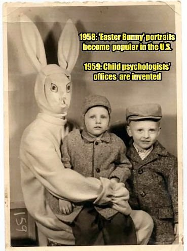 picture with easter bunny causes phyc therapy funny image