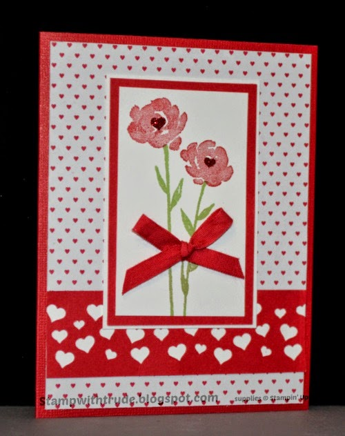 stampwithtrude.blogspot.com , Trude Thoman, Painted Petals, Valentine card, Stampin' Up!