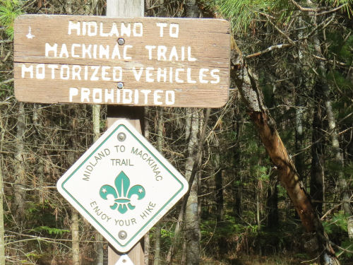 Midland to Mackinac Trail sign