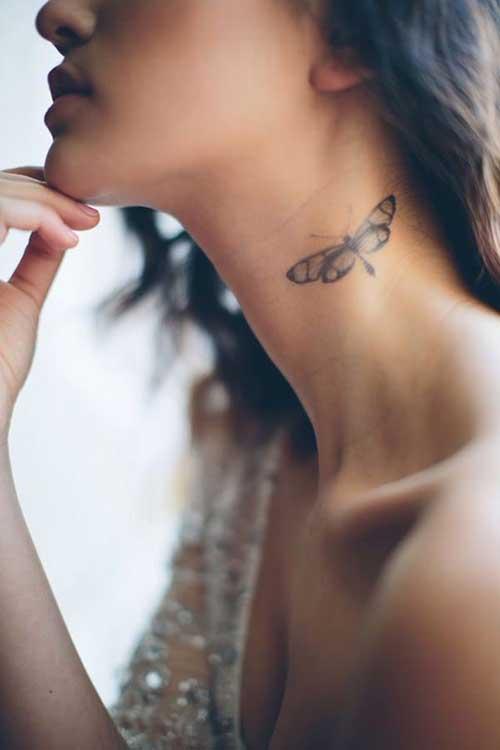 neck side butterfly tattoo