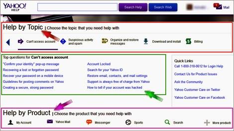 Yahoo online help center