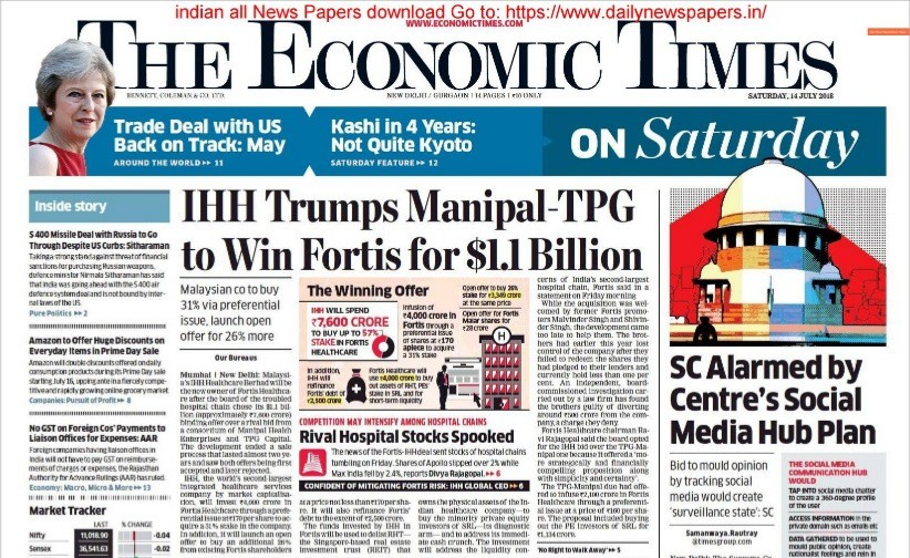 Today The Economic Times News Paper 14 july 2018, The Economic Times News Paper in PDF file Download