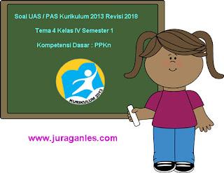 Contoh Soal UAS/ PAS K13 Kelas 4 Semester 1 Tema 4 Kompetensi Dasar PPKn