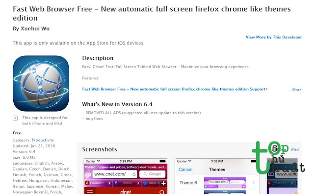 Trình duyệt web Fast Web Browser Free for iOS