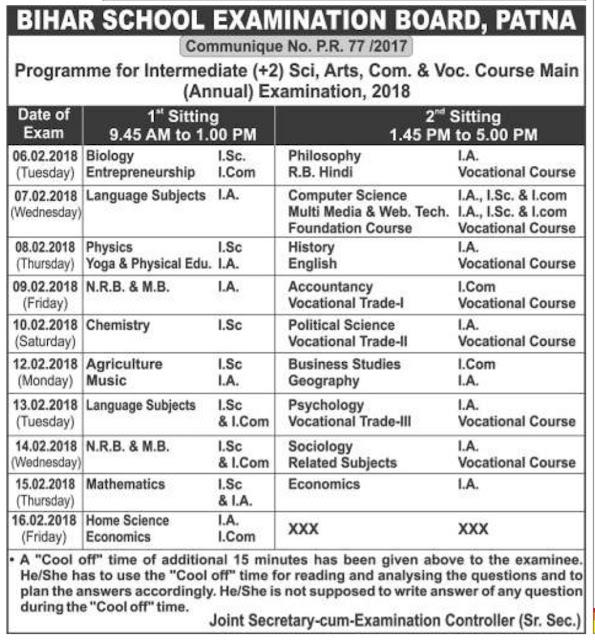 Bihar-Board-Routine