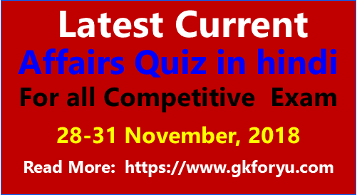 Current Affairs Quiz 28-30 November 2018