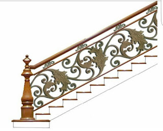 Motif dan Desain Railing Tangga Besi Tempa Klasik menggunakan Ornamen Besi Tempa full Alferon