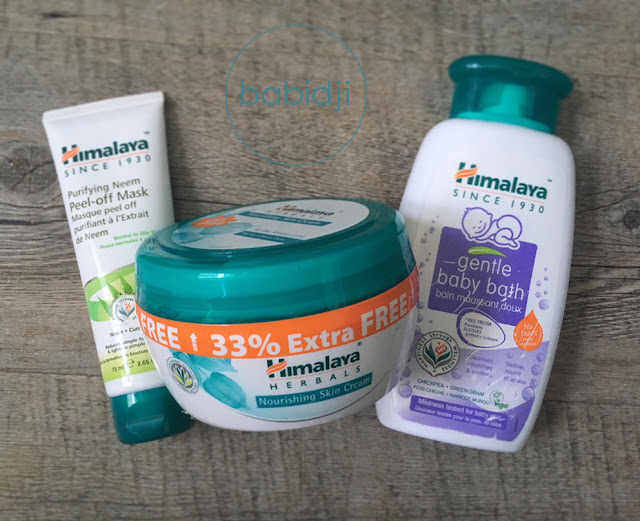 3 produits de beauté de la marque Himalaya Herbals : crème pour le visage, gel douche enfant et masque visage