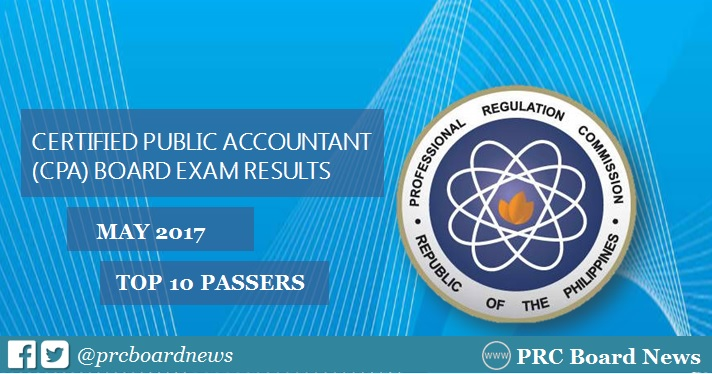 TOP 10 PASSERS: May 2017 CPA Board Exam Topnotchers