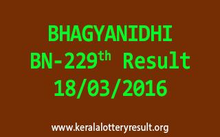 BHAGYANIDHI BN 229 Lottery Result 18-3-2016
