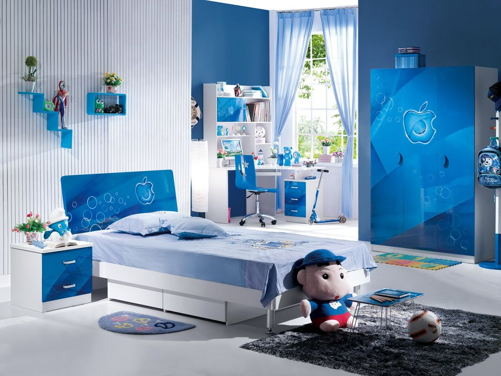 Desain Kamar Tidur Minimalis Warna Biru