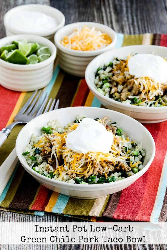 Instant Pot (or Slow Cooker) Low-Carb Green Chile Pork Taco Bowl found on KalynsKitchen.com.