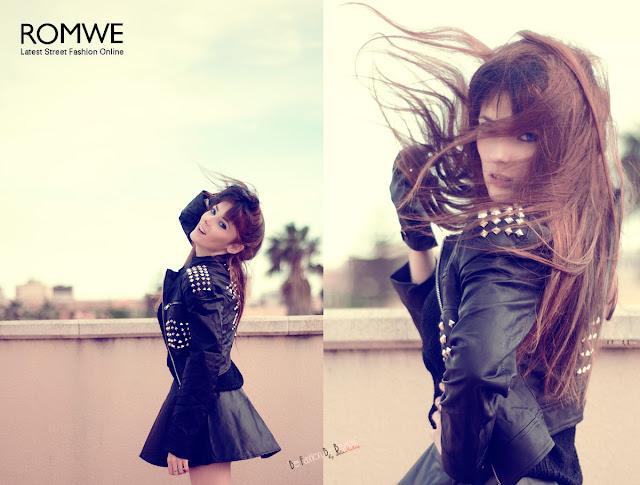 ROMWE Outfit Negro Tachuelas Pinchos Falda Dark Girl Rock Cazadora de polipiel. Be fashion. Be beauty.