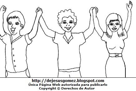 Imagen de personas levantando sus manos para colorear pintar imprimir. Dibujo de personas de Jesus Gómez