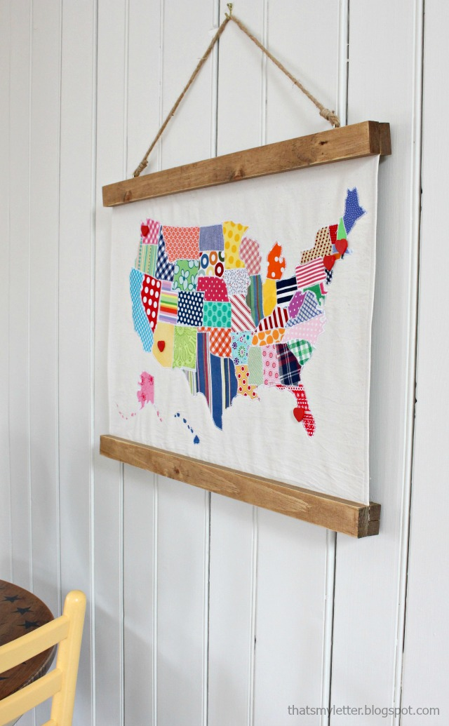 diy usa map wall hanging