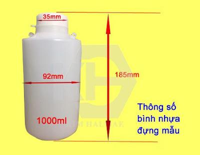 Bình nhựa chứa mẫu có seal niêm phong