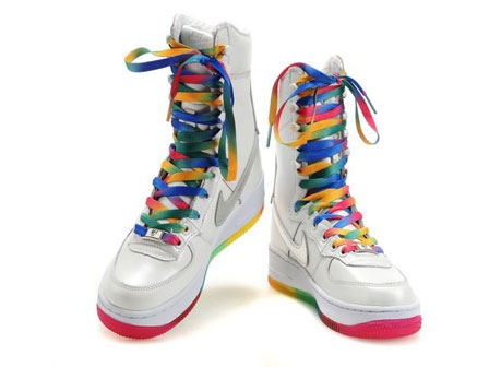 025ce881c62f8f Nike Rainbow Air Force One High Tops Shoes 6-Inch Boots Cheap For ...