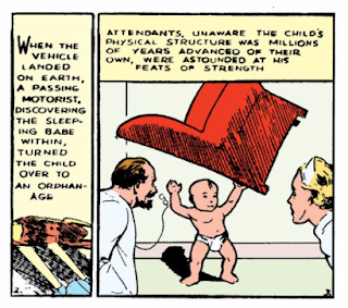 Action Comics (1938) #1 Page 1 Panel 3: Infant Superman lifts recliner above his head.