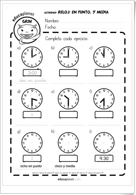 "Fichas ""Reloj: En punto. Y media."" (Educaplanet)"