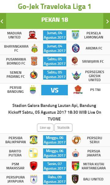 Jadwal Liga 1 2017 Pekan 18 Siaran Langsung tvOne 4-9 Agustus 2017