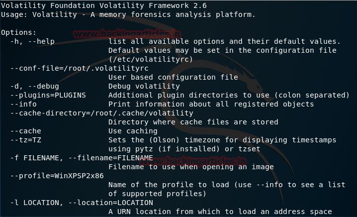 Volatility Kali Linux forensic tool