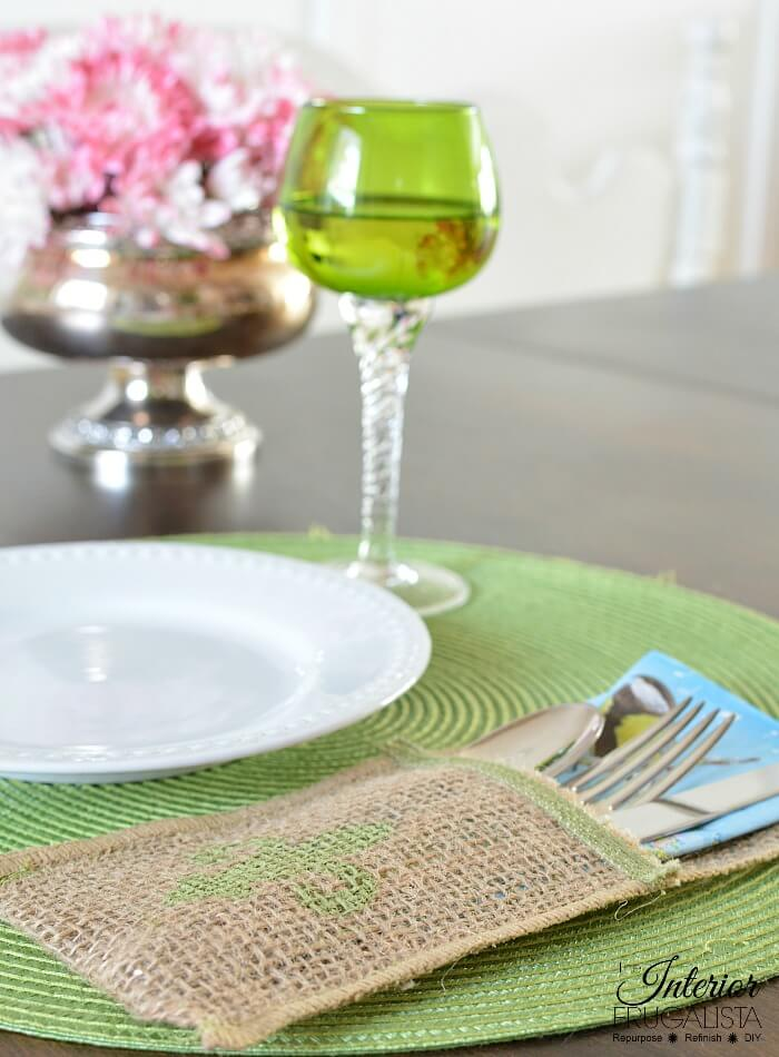 Burlap Ribbon Cutlery Holders For Spring Or Summer