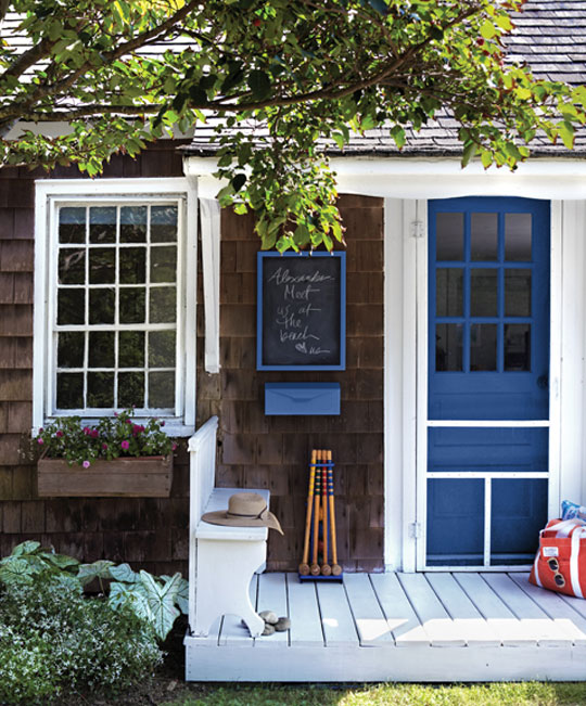 Courtney lane first impressions home exteriors - House with blue door ...