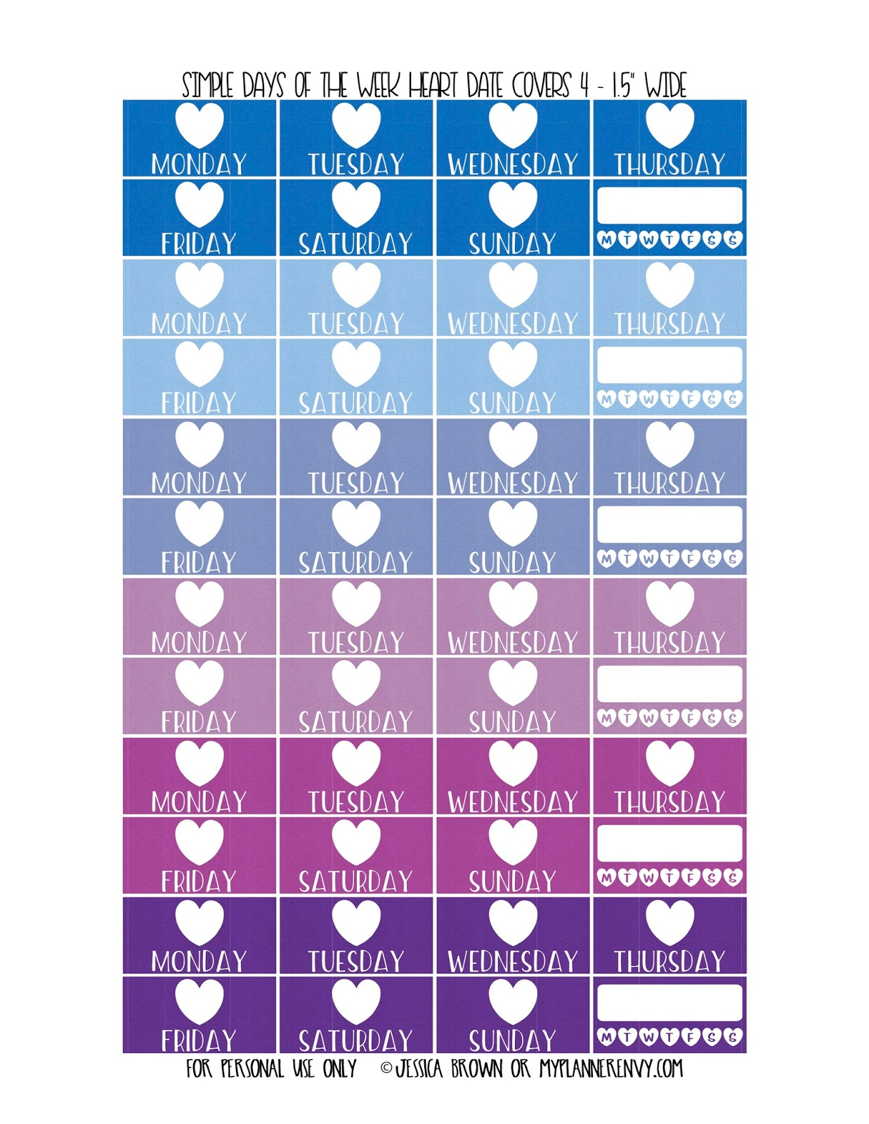 Simple Days of the Week Date Covers for the Vertical Erin Condren ...