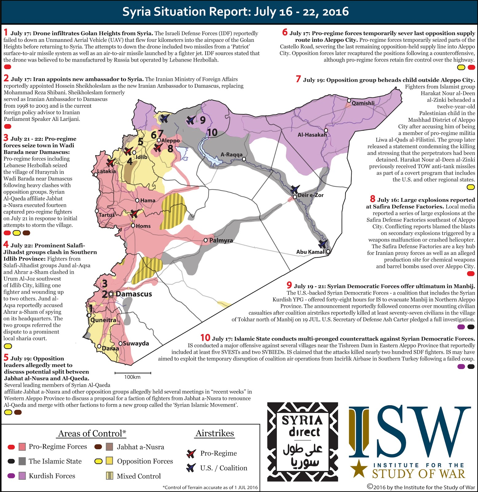 Eye On The World: Syria Situation Report: July 16 - 22, 2016