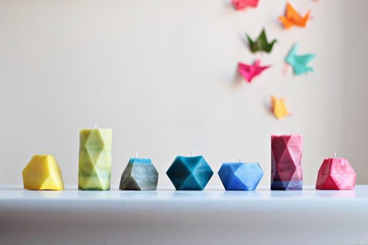 12 velas diy, velas caseras con formas geométricas
