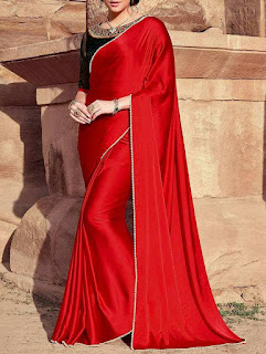 red_Satin_silk_saree_nepal