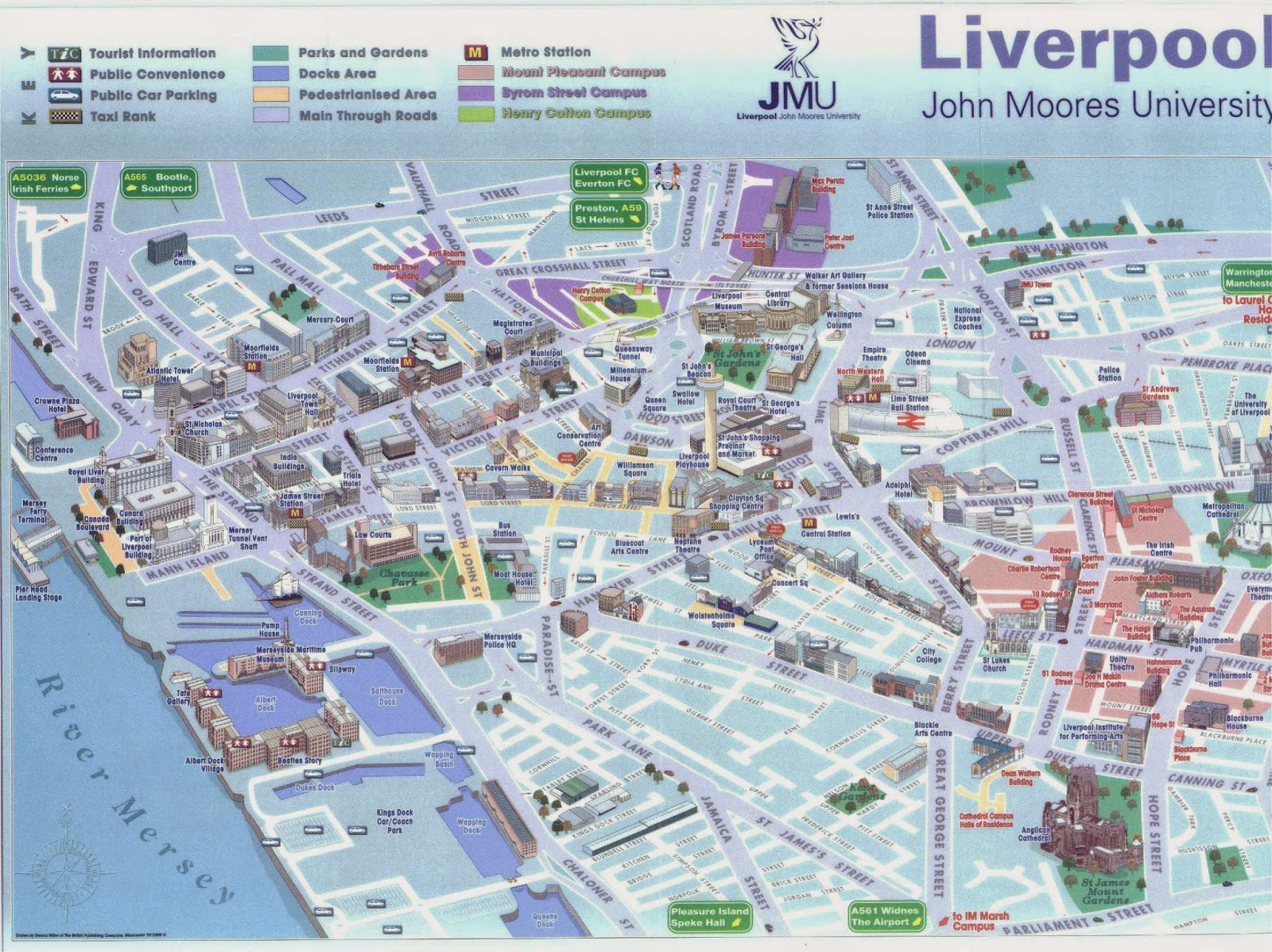 Tourist map of Liverpool, England