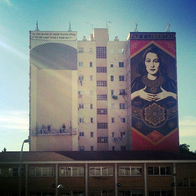 """Paz Y Libertard"" New Street Art Mural By American Artist Shepard Fairey For Maus Malaga In Spain. 4"