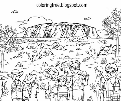 Simple drawing native landscape of Australia Ayers rock Australian colouring for children to print