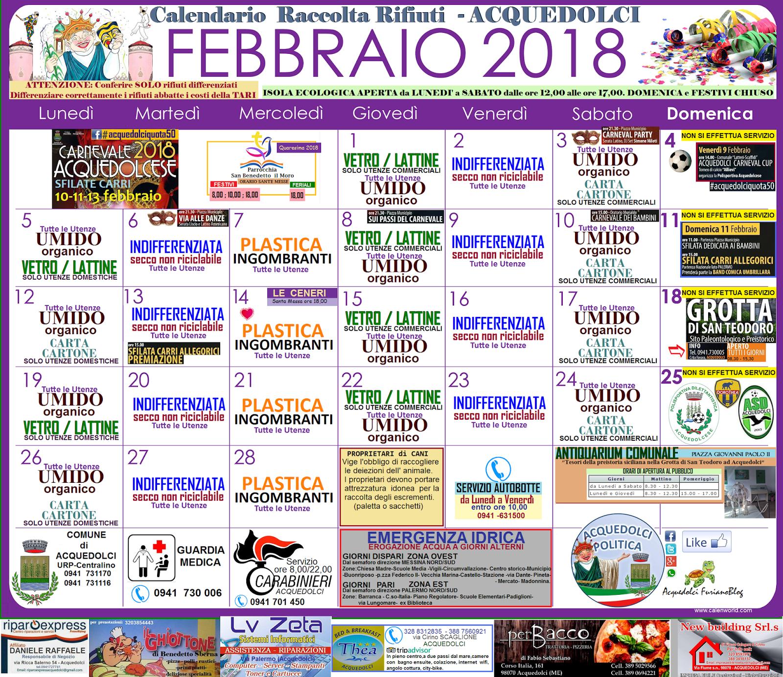 Calendario Raccolta Differenziata Sanremo.Rifiuti Ecco Il Calendario Di Febbraio 2018 Una Guida