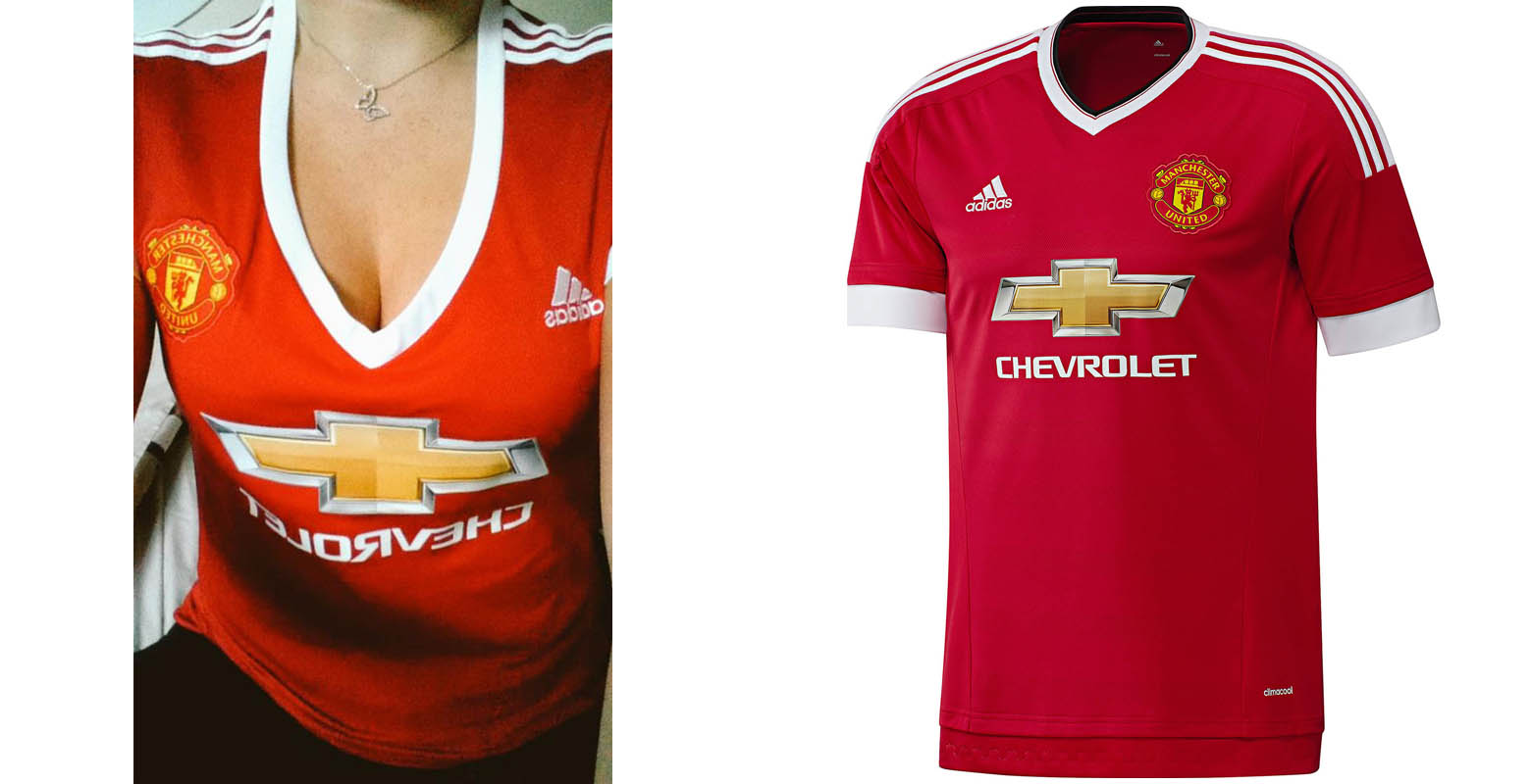 1b71c288141 Adidas has come under fire for the plunging neckline of the new Adidas  Manchester United 2015-16 Ladies Home Kit