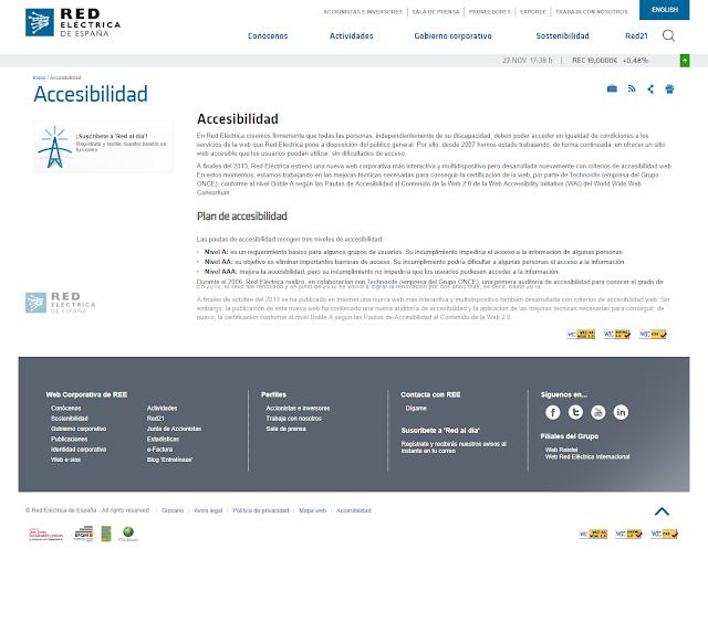 Pagina de red española de electricidad referente a la accesibilidad web